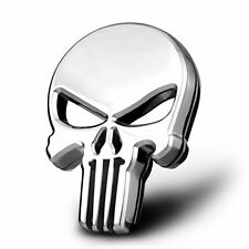 Auto Car Motorcycle Metal 3D Chrome Punisher Skull Gas Tank Decal Sticker Emblem