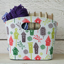 Cute Little PU Leather Storage Tidy Box Bag Bird House Knitting Sewing Craft