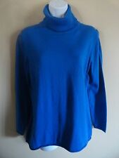 JCP Cashmere Blend L Royal Blue Rolled Hem Turtleneck Sweater FREE SHIPPING!