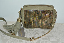 "NWT $250 Foley + Corinna ""Tassel Charmer"" Safari Snake Leather Handbag Olive"