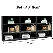 Bookcase Set of 3 Black 3 Shelf Bookshelf Adjustable Furniture Wood Storage