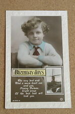 Vintage Postcard: Birthday Greetings, Windmill, Young Lad, Rotary