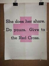 "WWI Original American Red Cross Poster ""She Does Her Share, Do Yours"" WW1"