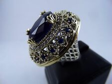 STERLING 925 SILVER HANDCRAFT JEWELRY BLUE SAPPHIRE LADY RING SZ 8