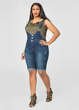 "New Ashley Stewart $50 11"" Denim Jumper Shortalls Overalls Shorts Plus 16"