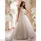 Lace wedding dress A-line Strapless Bridal Gown Lace up back Custom plus Train