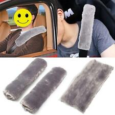 2Pcs Grey Car Seat Belt Harness Cover Soft Shoulder Pad Protective Strap Wrap