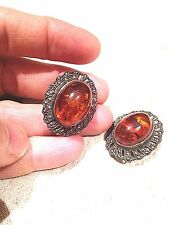 Vintage Genuine Amber 925 Sterling Silver Real Marcasite Clip on Earrings