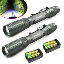 2 Sets Tactical CREE XM-L T6 8000LM 5 Modes Zoomable LED Flashlight 18650 T