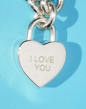 "Tiffany & Co Argento Sterling NOTE ""I Love You"" Cuore Lucchetto Charm solo"