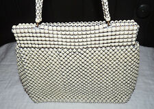 "Vintage Alumesh Whiting And Davis Evening Bag Purse 12"" Off White"