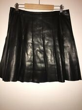 FENDI BLACK LEATHER MINI KILT PLEATED SKIRT SIZE 42