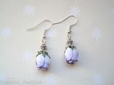 *WHITE LILAC ROSEBUD* Drop Earrings Vintage Style CUTE GIFT Rose bud Tibetan