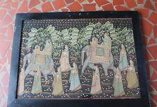 Vtg India Rajasthani Painting Fabric Elephant People Raja Men Women Wooden Frame
