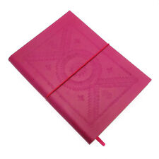 Fair Trade Handmade Large Fuchsia Pink Embossed Leather Journal 2nd Quality