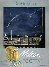 Meteor de Coty Perfume PARIS At NIGHT Out Of The Heavens To You 1951 Print Ad
