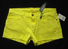 New! LUCKY BRAND Jean Shorts sz 12/ 31 Riley CutOff Boyfriend Neon Yellow Denim