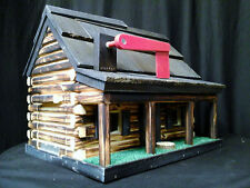 Amish Handmade Handcrafted Rural Mailbox w Flag USPS Wood Roof Log Cabin Blue