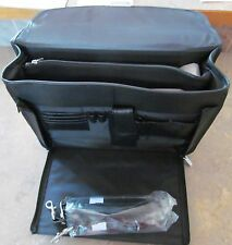 New Open TOP LEATHER LAWYER CATALOG PILOT ATTACHE BRIEFCASE Black