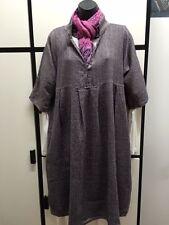 Fog Linen Work ONE SIZE DEEP PURPLE Linen Wool STAND COLLAR TRIA SWEATER DRESS