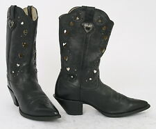 HEART Cut Out DURANGO Womens 9 Black Leather COWBOY Western Boots