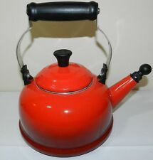 Le Creuset = RED = 1.7 QT Quart Whistling Tea Kettle Teapot  ss18