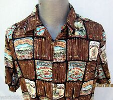Hawaiian Shirt Size Large Rayon Kahala Cigar Labels Cuba Solo Cubano