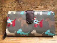 Vintage Style Scottie Dog Ladies Purse/Retro Print/Grey/Zip Around/Large