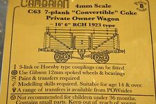 """CAMBRIAN C63 KIT 7 PLANK CONVERTIBLE COKE P/O WAGON16' 6"""" RCH 1923 TYPE NEW  OO"""