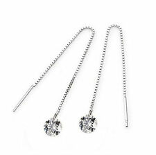 Hot Women's Striking Zircon Topaz Silver Plated Decor Drop Dangle Chain Earrings