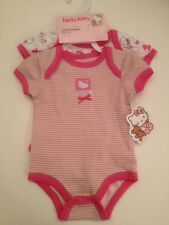Hello Kitty Baby Girl Bodysuit Set Layette Size 6-9 Months Outfit Pink Stripes
