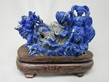 Lapis Lazuli Nezha (哪吒) Statue with Wood base, the Third Lotus Prince (蓮花三太子)