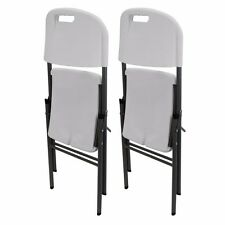 Heavy Duty Set Of 2 Portable Folding Chairs Plastic Lightweight Outdoor Camping