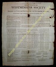 Circa 1780-90 Posted INSURANCE WRAPPER - WESTMINSTER INSURANCE SOCIETY