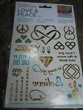 TATUAGGI Temporanei Oro Argento Metallico Tatuaggio Body Art trasferimenti LOVE & PEACE