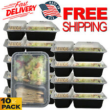 Food Storage Containers Plastic 10 Meal Prep Container 2 Compartment Reusable
