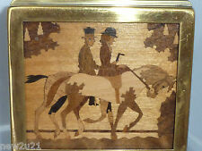 ANTIQUE JEWELLERY TRINKET BOX  MARQUETRY HORSE HUNTING EQUESTRIAN MAN LADY