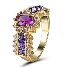 Size 7 Yellow Gold Plated Amethyst Wedding Engagement Ring Birthday Couple