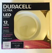 "DURACELL Ultra LED Dimmable 12W Energy Saver 5"" to 6"" Recessed Light Fixture"