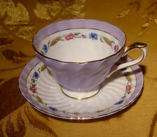 AYNSLEY SWIRLED PALE PURPLE CUP & SAUCER FOOTED FLORAL BAND GOLD TRIM