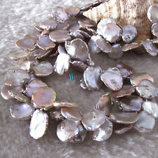 """18"""" 10-15mm Lavender Keshi 2Row Freshwater Pearl Necklace"""