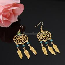 1Pair Retro Womens Dreamcatcher Feather Beads Dangle Earrings Perfect Gifts Gold