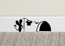B213 Mouse Hole Wall Art Sticker Washing Vinyl MICE Home Skirting Board Funny