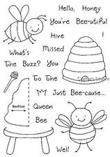 Inky Antics Bumblebee Bee Hive Saying HoneyPop Set 11087MC Clear Cling Stamps