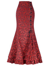 Victorian Gothic Steampunk Long Mermaid Corset Dress Fishtail Vintage Skirt 6 18