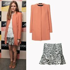 Celebrity Style ZARA Peach Coral Coat with Gathering On The Shoulder Large UK 12