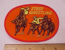 STEER WRESTLING LONG HORN CATTLE RODEO COWBOY BRONCO RIDER EMBROIDERED PATCH