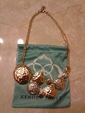 Kendra Scott Lena Gold Vintage Filigree Mosaic Bib Statement Necklace Rare HTF