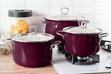 HIGH QUALITY 6 pc Pot Set ENAMEL POTS Casserole Cookware PLUM FUSION FRESH