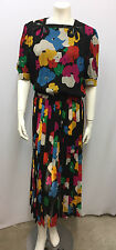 VINTAGE VALENTINO NIGHT SILK DRESS MULTI COLOR FLORAL SHEER 2 BEADED BOWS 42